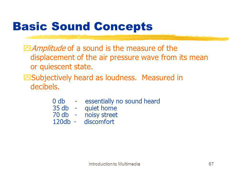Introduction to Multimedia67 Basic Sound Concepts yAmplitude of a sound is the measure of the displacement of the air pressure wave from its mean or q