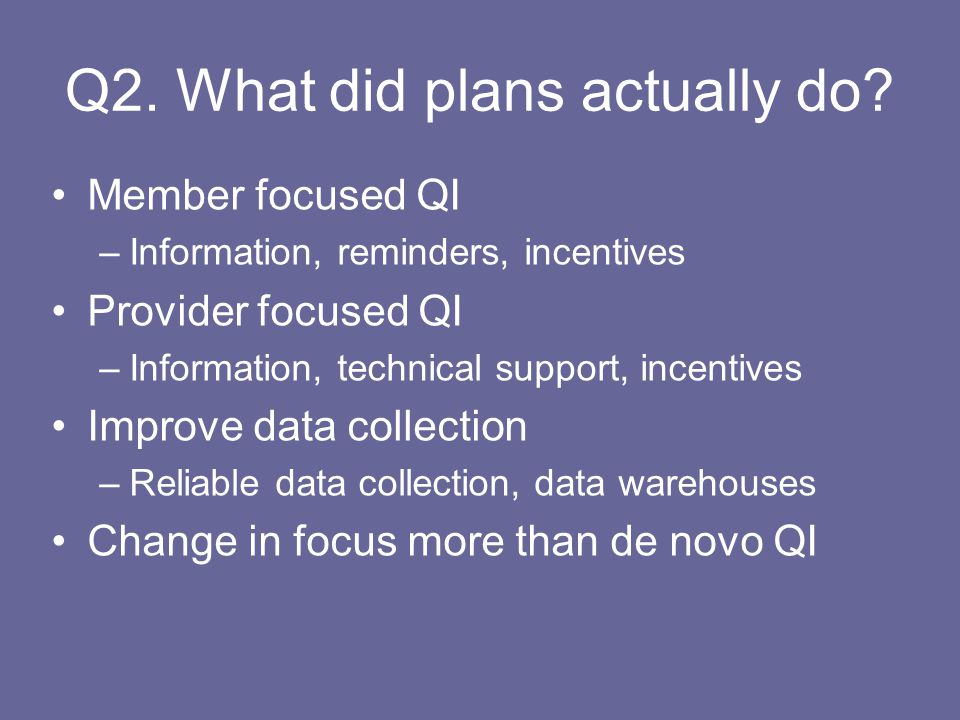 Q2. What did plans actually do.