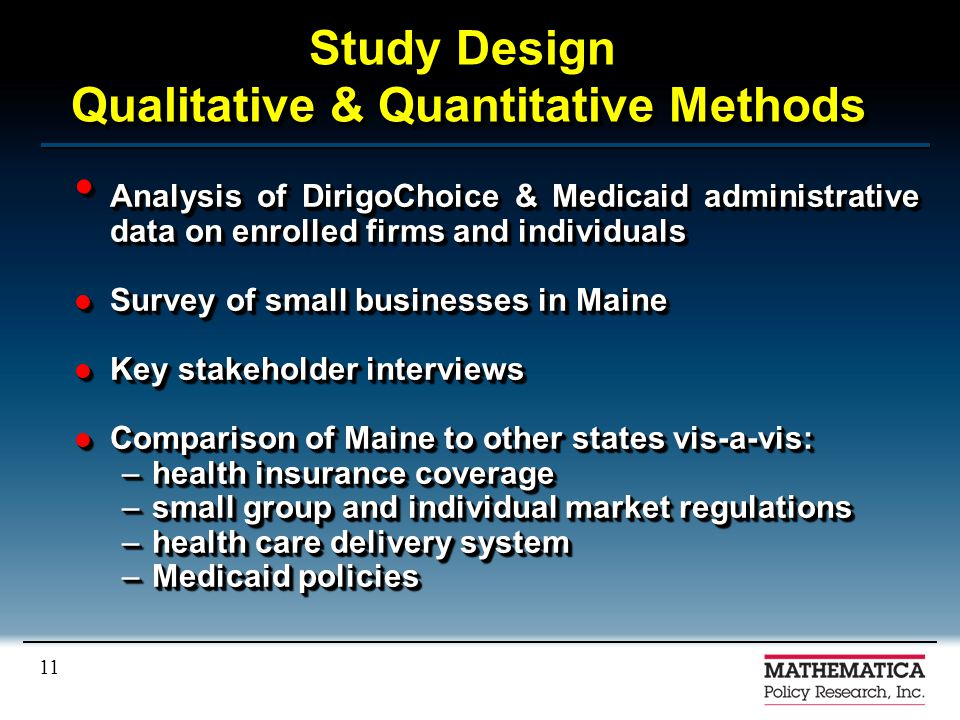 11 Study Design Qualitative & Quantitative Methods Analysis of DirigoChoice & Medicaid administrative data on enrolled firms and individuals Analysis of DirigoChoice & Medicaid administrative data on enrolled firms and individuals Survey of small businesses in Maine Survey of small businesses in Maine Key stakeholder interviews Key stakeholder interviews Comparison of Maine to other states vis-a-vis: Comparison of Maine to other states vis-a-vis: –health insurance coverage –small group and individual market regulations –health care delivery system –Medicaid policies Analysis of DirigoChoice & Medicaid administrative data on enrolled firms and individuals Analysis of DirigoChoice & Medicaid administrative data on enrolled firms and individuals Survey of small businesses in Maine Survey of small businesses in Maine Key stakeholder interviews Key stakeholder interviews Comparison of Maine to other states vis-a-vis: Comparison of Maine to other states vis-a-vis: –health insurance coverage –small group and individual market regulations –health care delivery system –Medicaid policies