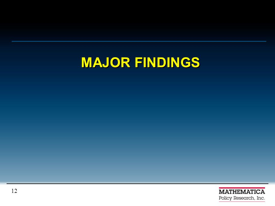 12 MAJOR FINDINGS