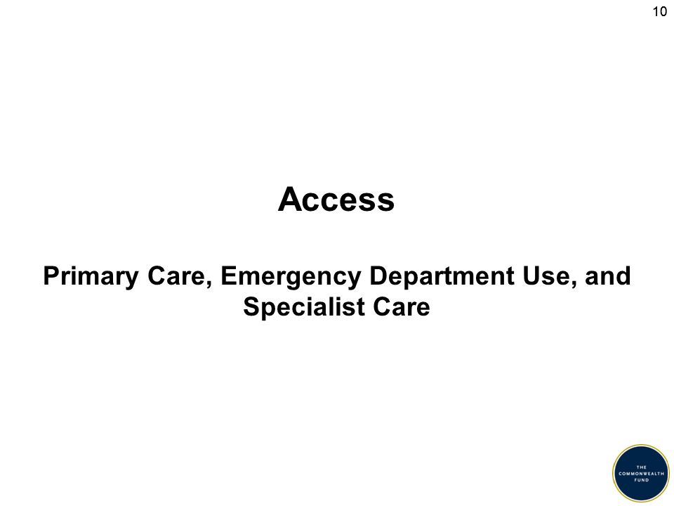 10 Access Primary Care, Emergency Department Use, and Specialist Care
