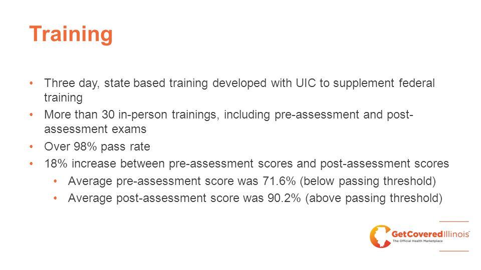 Training Three day, state based training developed with UIC to supplement federal training More than 30 in-person trainings, including pre-assessment and post- assessment exams Over 98% pass rate 18% increase between pre-assessment scores and post-assessment scores Average pre-assessment score was 71.6% (below passing threshold) Average post-assessment score was 90.2% (above passing threshold)