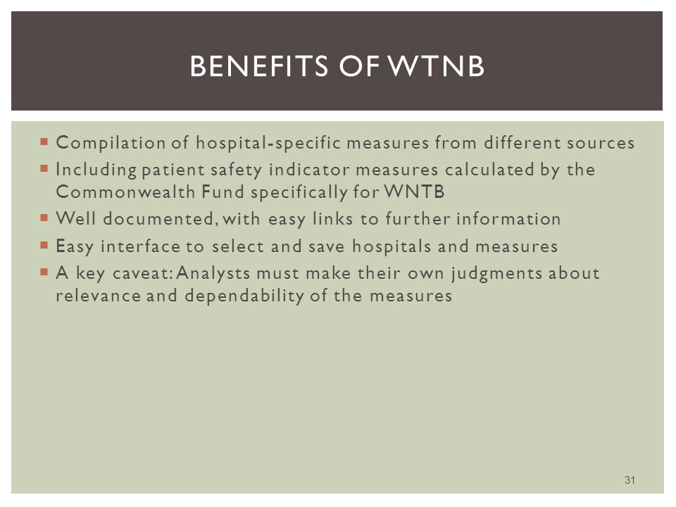  Compilation of hospital-specific measures from different sources  Including patient safety indicator measures calculated by the Commonwealth Fund specifically for WNTB  Well documented, with easy links to further information  Easy interface to select and save hospitals and measures  A key caveat: Analysts must make their own judgments about relevance and dependability of the measures 31 BENEFITS OF WTNB