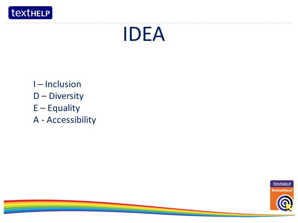 ……………………………………………………………………………………………………………………………………………………………………………………………………………………………..……………….… IDEA I – Inclusion D – Diversity E – Equality A - Accessibility