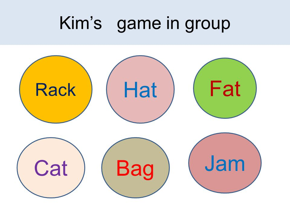 Kim's game in group Rack Hat Fat CatBag Jam