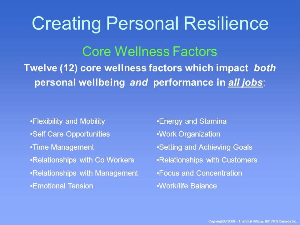 Copyright © 2009 – The Vital Village, 6819109 Canada Inc. Core Wellness Factors Twelve (12) core wellness factors which impact both personal wellbeing