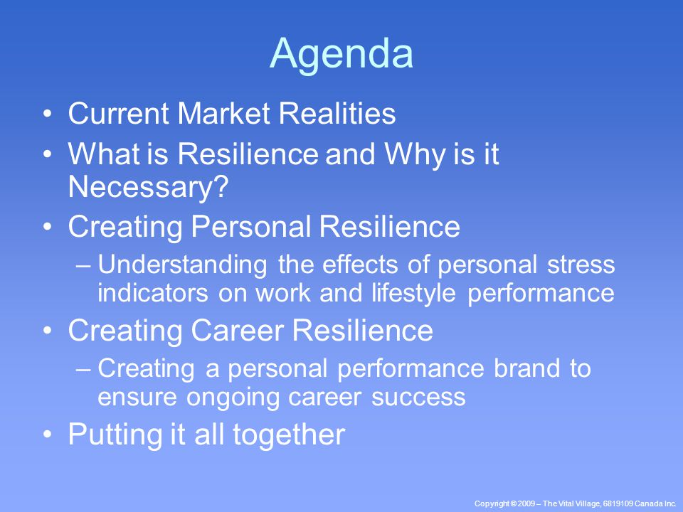 Copyright © 2009 – The Vital Village, 6819109 Canada Inc. Agenda Current Market Realities What is Resilience and Why is it Necessary? Creating Persona