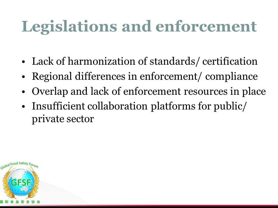Legislations and enforcement Lack of harmonization of standards/ certification Regional differences in enforcement/ compliance Overlap and lack of enf
