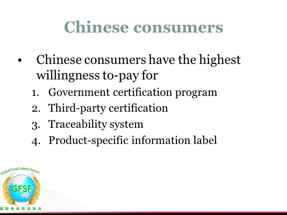 Chinese consumers Chinese consumers have the highest willingness to-pay for 1.Government certification program 2.Third-party certification 3.Traceabil
