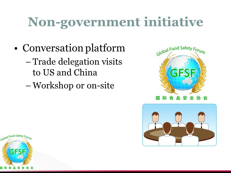 Non-government initiative Conversation platform –Trade delegation visits to US and China –Workshop or on-site