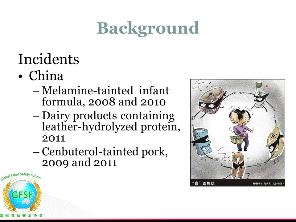 Background Incidents China –Melamine-tainted infant formula, 2008 and 2010 –Dairy products containing leather-hydrolyzed protein, 2011 –Cenbuterol-tai