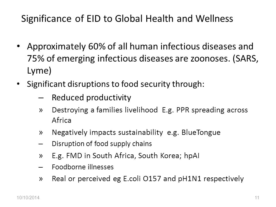 Significance of EID to Global Health and Wellness Approximately 60% of all human infectious diseases and 75% of emerging infectious diseases are zoonoses.