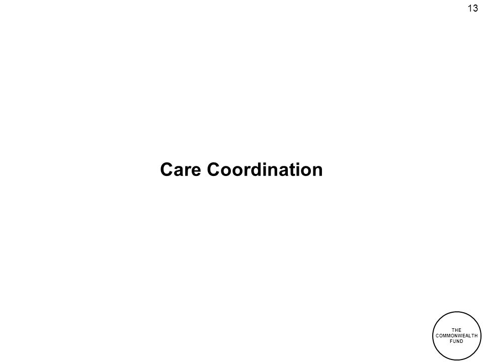 THE COMMONWEALTH FUND 13 Care Coordination