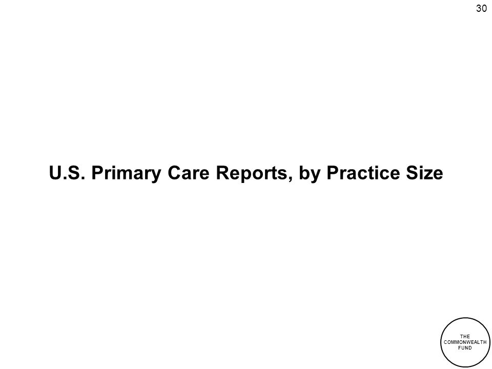 THE COMMONWEALTH FUND 30 U.S. Primary Care Reports, by Practice Size