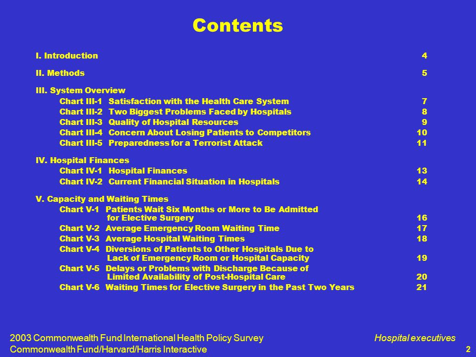 2003 Commonwealth Fund International Health Policy Survey Commonwealth Fund/Harvard/Harris Interactive Hospital executives 3 VI.