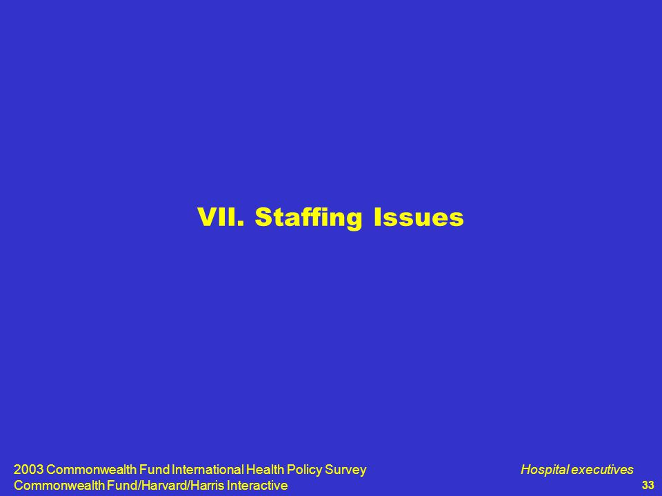 2003 Commonwealth Fund International Health Policy Survey Commonwealth Fund/Harvard/Harris Interactive Hospital executives 33 VII.
