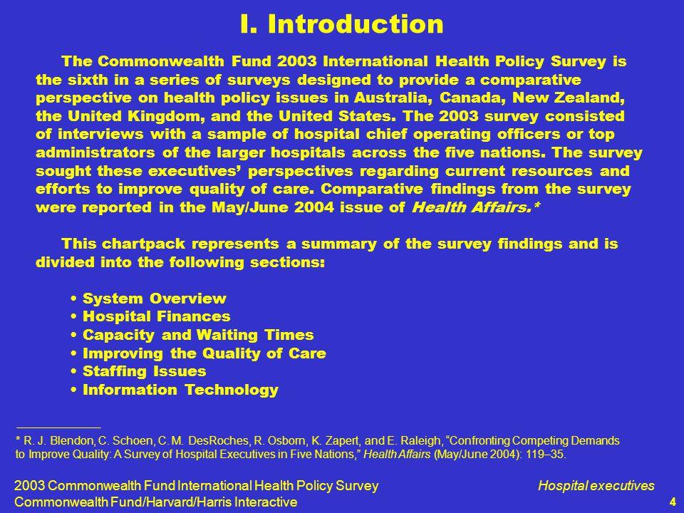2003 Commonwealth Fund International Health Policy Survey Commonwealth Fund/Harvard/Harris Interactive Hospital executives 5 Telephone survey of hospital executives in Australia, Canada, New Zealand, United Kingdom, and the United States.
