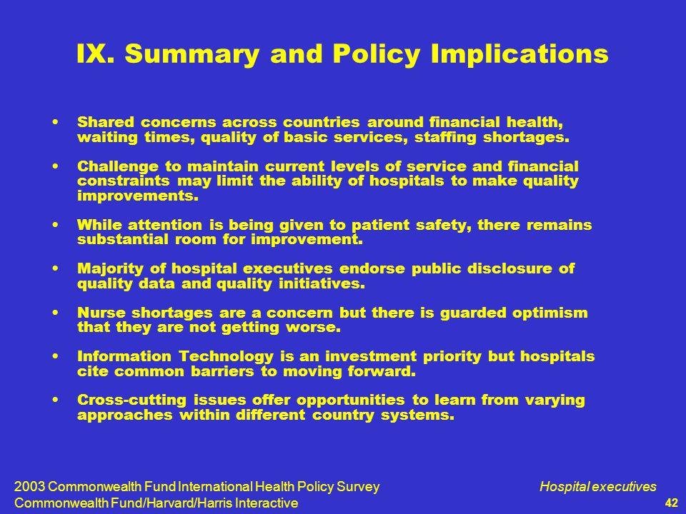 2003 Commonwealth Fund International Health Policy Survey Commonwealth Fund/Harvard/Harris Interactive Hospital executives 42 IX.