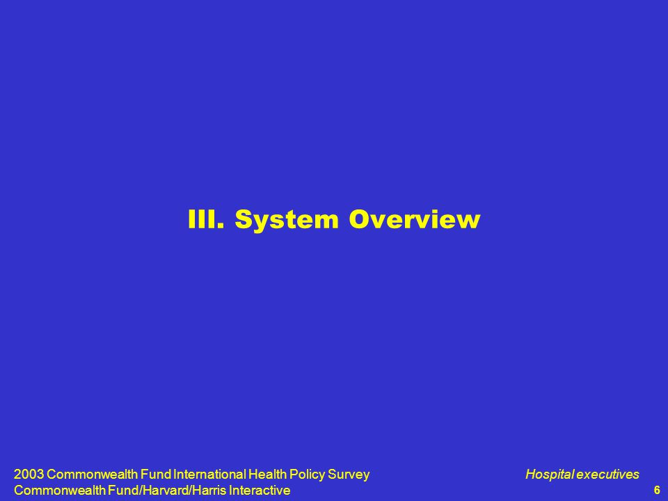 2003 Commonwealth Fund International Health Policy Survey Commonwealth Fund/Harvard/Harris Interactive Hospital executives 6 III.