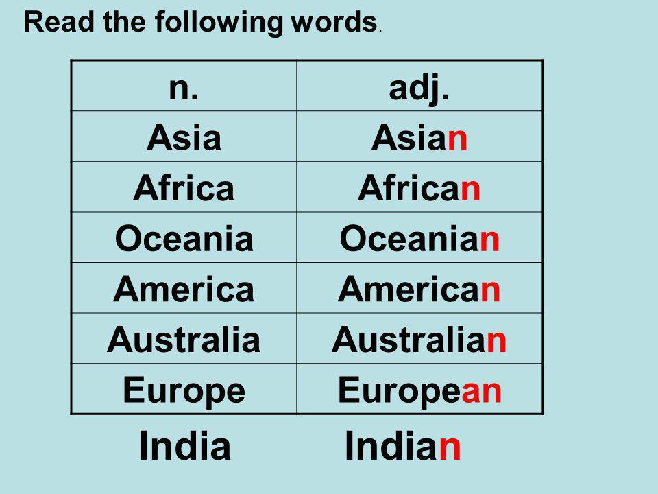 Read the following words. n.adj.