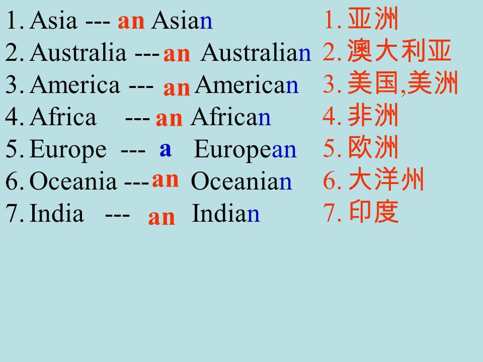 1.Asia --- Asian 2.Australia --- Australian 3.America --- American 4.Africa --- African 5.Europe --- European 6.Oceania --- Oceanian 7.India --- Indian 1.