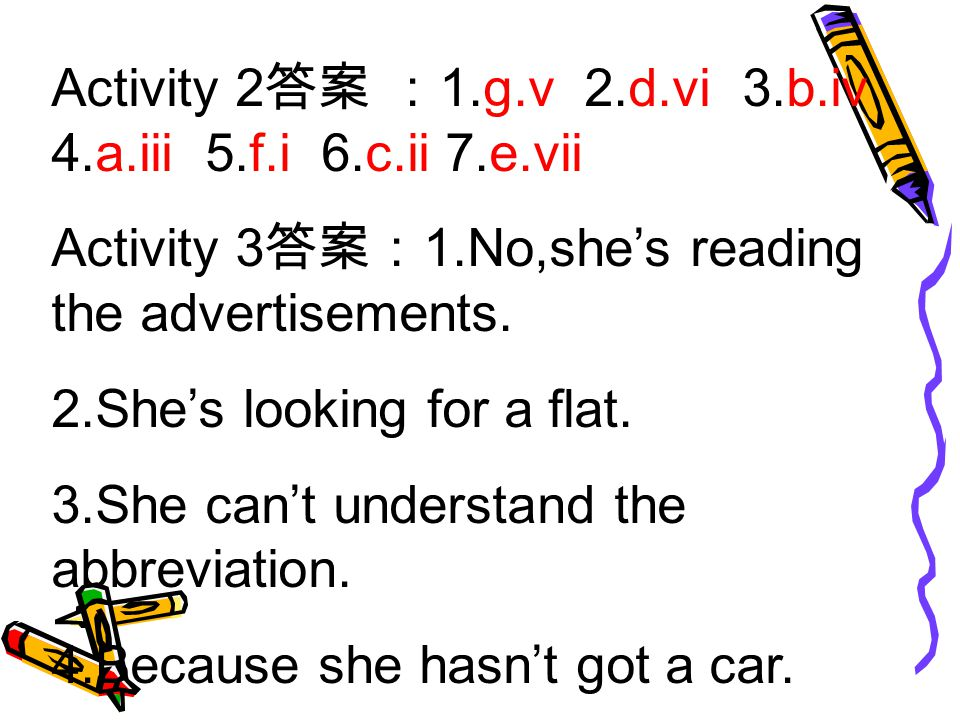 Activity 2 答案 : 1.g.v 2.d.vi 3.b.iv 4.a.iii 5.f.i 6.c.ii 7.e.vii Activity 3 答案: 1.No,she's reading the advertisements.