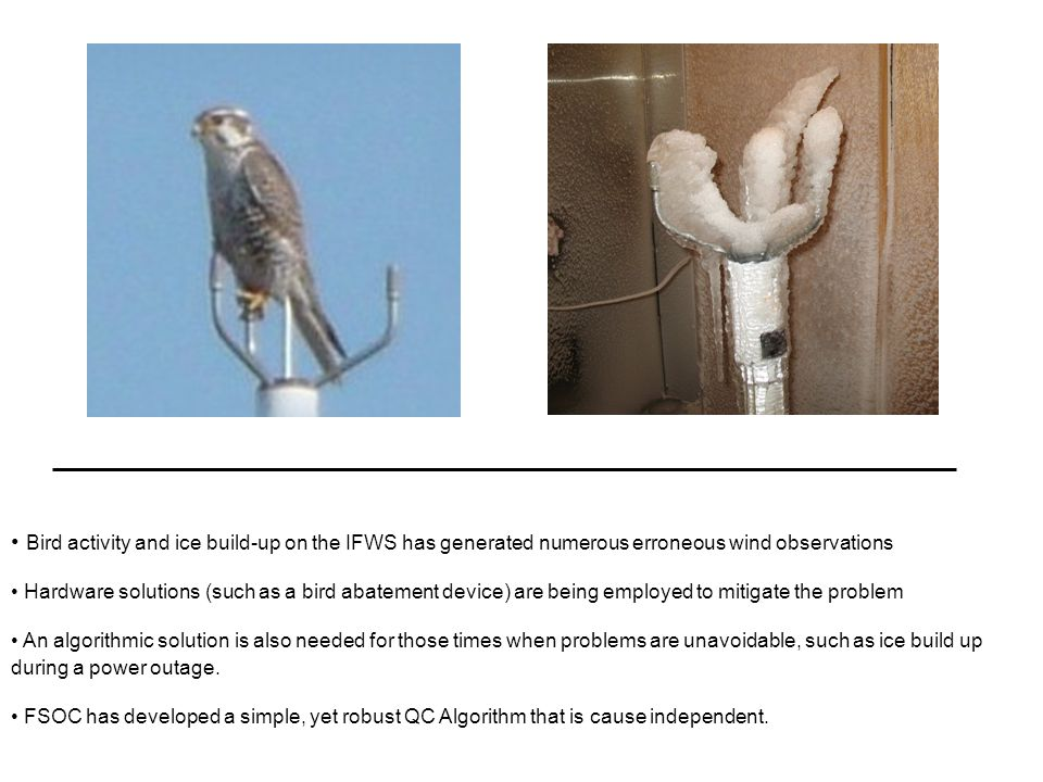 Bird activity and ice build-up on the IFWS has generated numerous erroneous wind observations Hardware solutions (such as a bird abatement device) are
