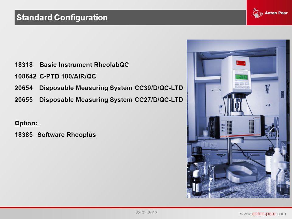 www.anton-paar.com Standard Configuration 18318 Basic Instrument RheolabQC 108642 C-PTD 180/AIR/QC 20654 Disposable Measuring System CC39/D/QC-LTD 206