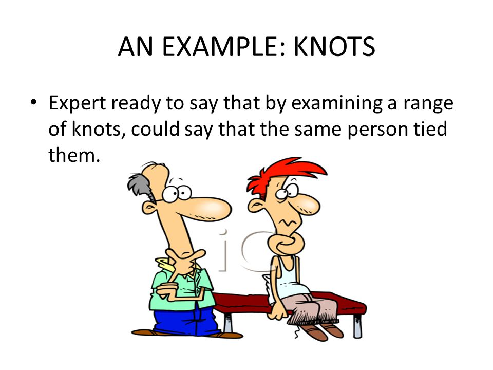 AN EXAMPLE: KNOTS Expert ready to say that by examining a range of knots, could say that the same person tied them.