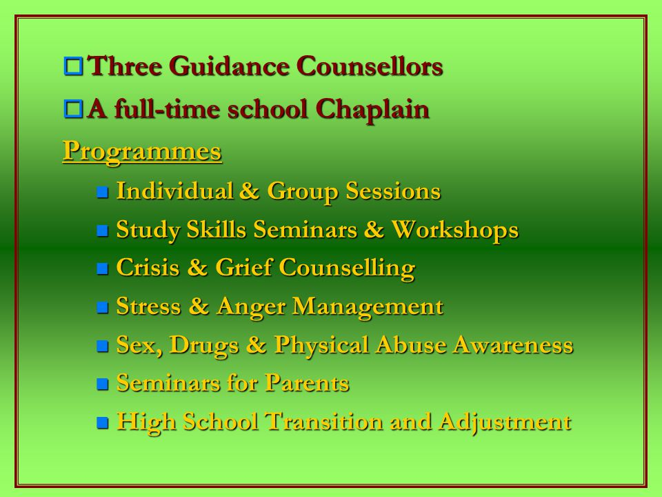  Three Guidance Counsellors  A full-time school Chaplain Programmes Individual & Group Sessions Individual & Group Sessions Study Skills Seminars & Workshops Study Skills Seminars & Workshops Crisis & Grief Counselling Crisis & Grief Counselling Stress & Anger Management Stress & Anger Management Sex, Drugs & Physical Abuse Awareness Sex, Drugs & Physical Abuse Awareness Seminars for Parents Seminars for Parents High School Transition and Adjustment High School Transition and Adjustment