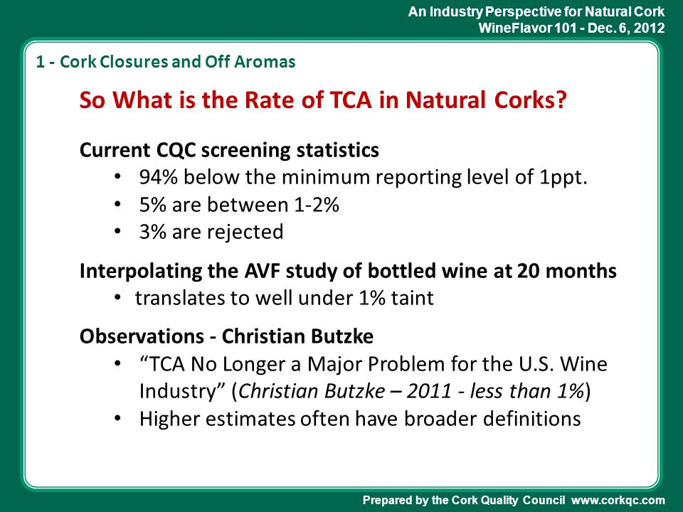 An Industry Perspective for Natural Cork WineFlavor 101 - Dec. 6, 2012 Prepared by the Cork Quality Council www.corkqc.com So What is the Rate of TCA