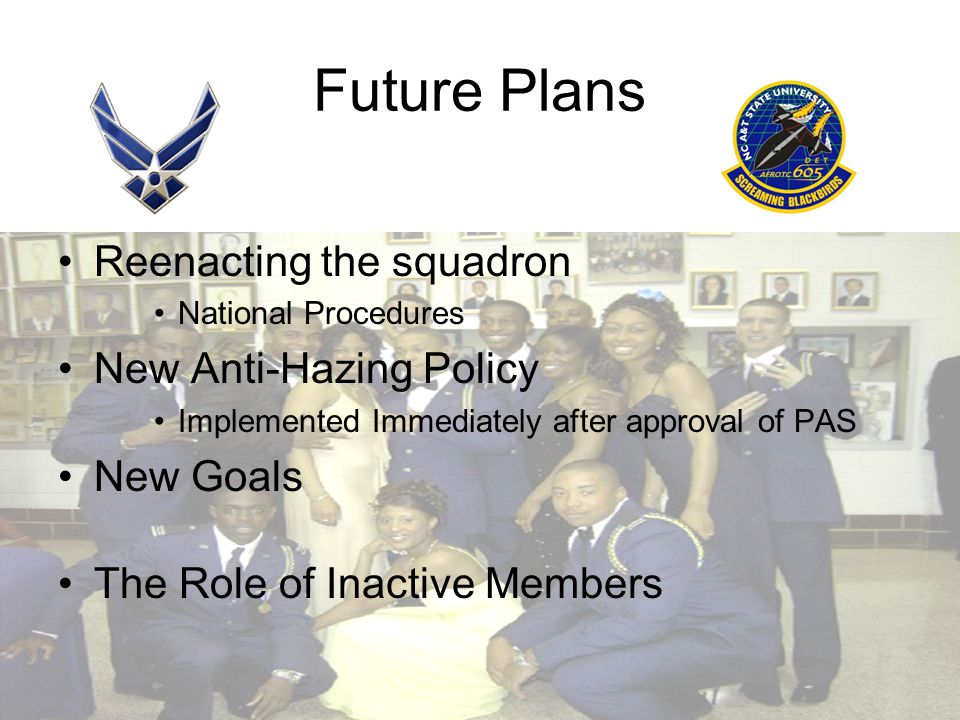 Future Plans Reenacting the squadron National Procedures New Anti-Hazing Policy Implemented Immediately after approval of PAS New Goals The Role of Inactive Members