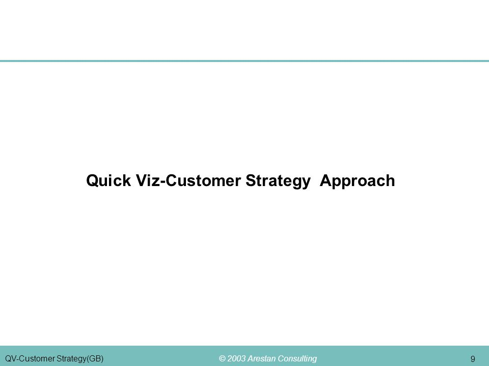 © 2003 Arestan Consulting 9 QV-Customer Strategy(GB) Quick Viz-Customer Strategy Approach