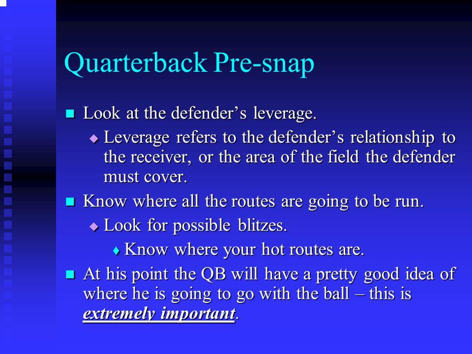 Quarterback Pre-snap Look at the defender's leverage. Look at the defender's leverage.  Leverage refers to the defender's relationship to the receive
