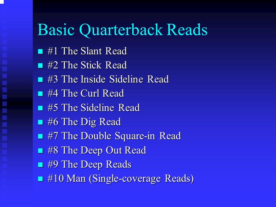 Basic Quarterback Reads #1 The Slant Read #1 The Slant Read #2 The Stick Read #2 The Stick Read #3 The Inside Sideline Read #3 The Inside Sideline Rea