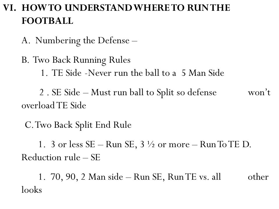 VI.HOW TO UNDERSTAND WHERE TO RUN THE FOOTBALL A. Numbering the Defense – B.