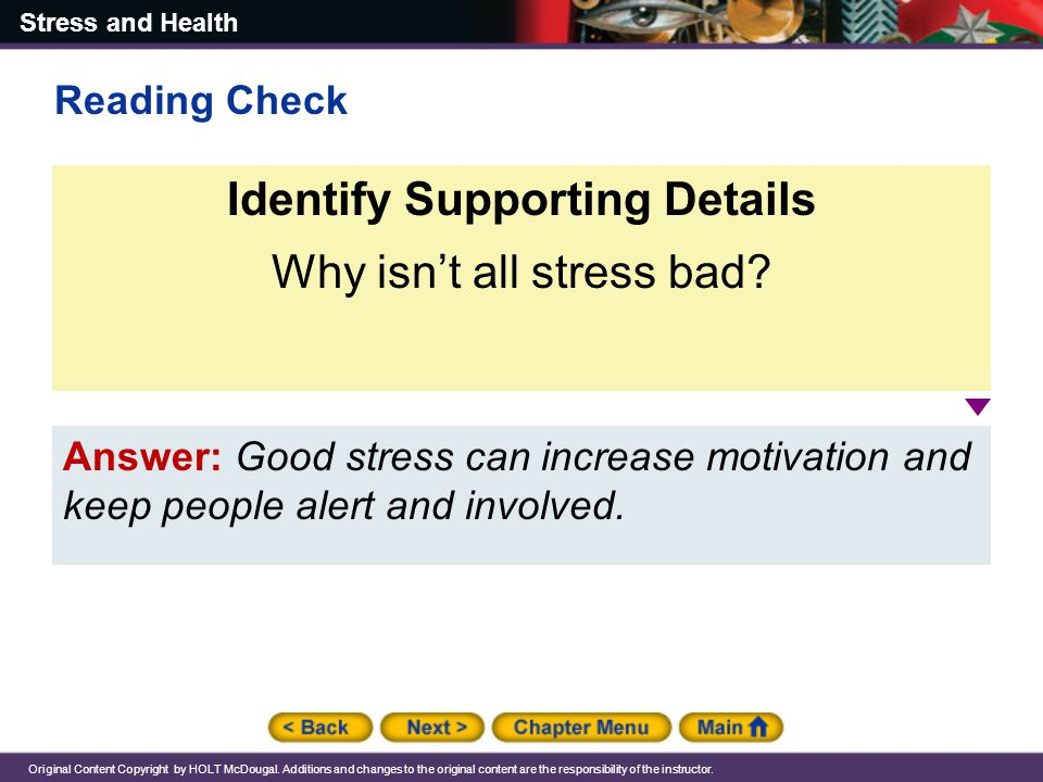 Stress and Health Original Content Copyright by HOLT McDougal.