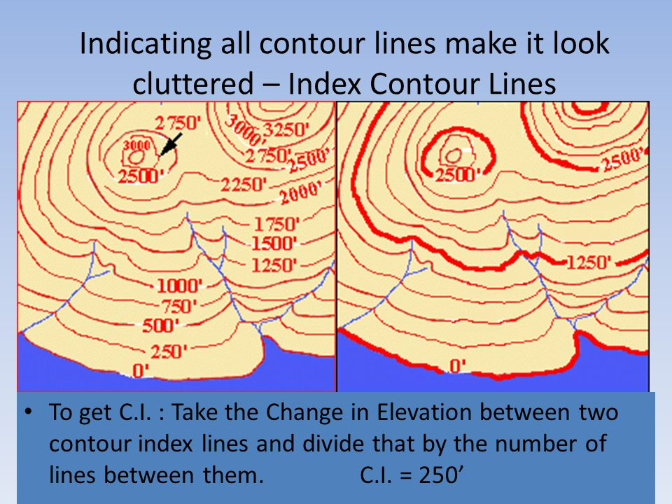 Indicating all contour lines make it look cluttered – Index Contour Lines To get C.I. : Take the Change in Elevation between two contour index lines a