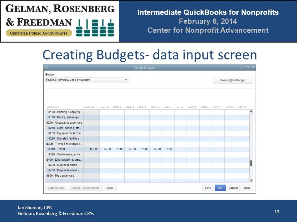 Intermediate QuickBooks for Nonprofits February 6, 2014 Center for Nonprofit Advancement Ian Shuman, CPA Gelman, Rosenberg & Freedman CPAs 13 Creating Budgets- data input screen