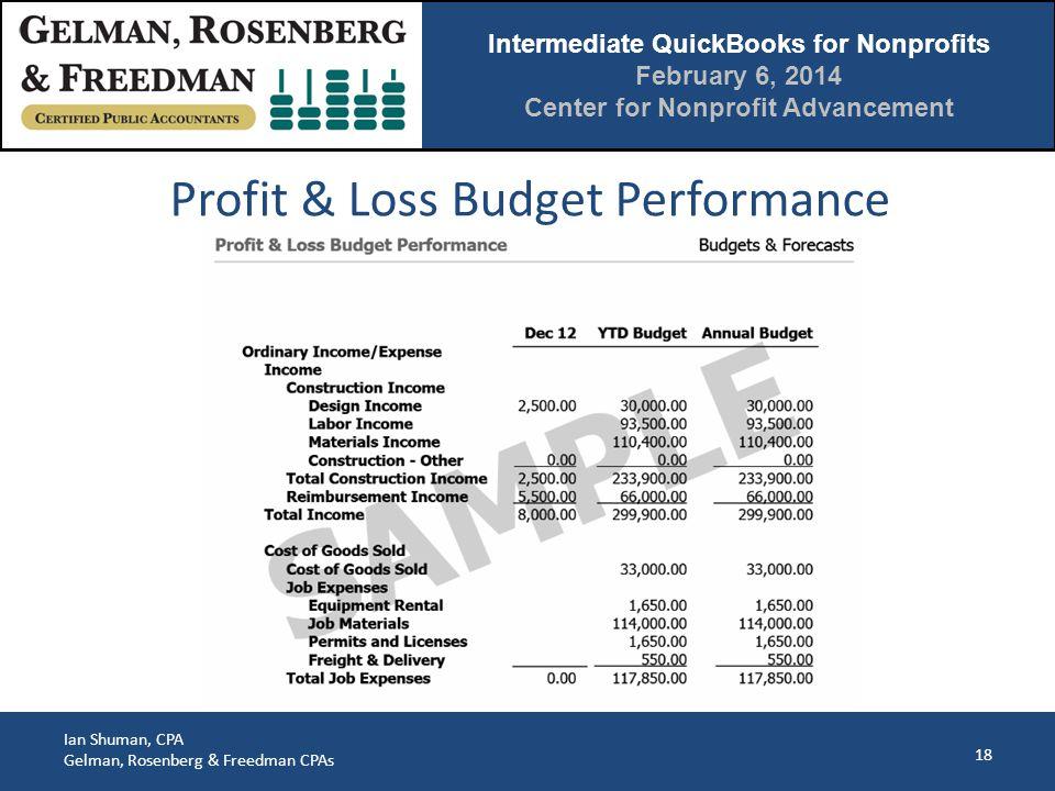 Intermediate QuickBooks for Nonprofits February 6, 2014 Center for Nonprofit Advancement Ian Shuman, CPA Gelman, Rosenberg & Freedman CPAs 18 Profit & Loss Budget Performance
