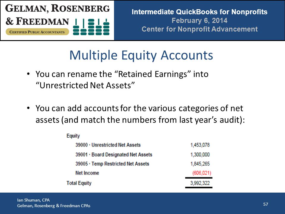 Intermediate QuickBooks for Nonprofits February 6, 2014 Center for Nonprofit Advancement Ian Shuman, CPA Gelman, Rosenberg & Freedman CPAs Multiple Equity Accounts 57 You can rename the Retained Earnings into Unrestricted Net Assets You can add accounts for the various categories of net assets (and match the numbers from last year's audit):