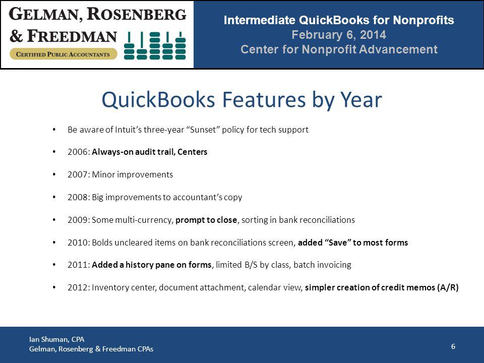 Intermediate QuickBooks for Nonprofits February 6, 2014 Center for Nonprofit Advancement Ian Shuman, CPA Gelman, Rosenberg & Freedman CPAs 27 4.