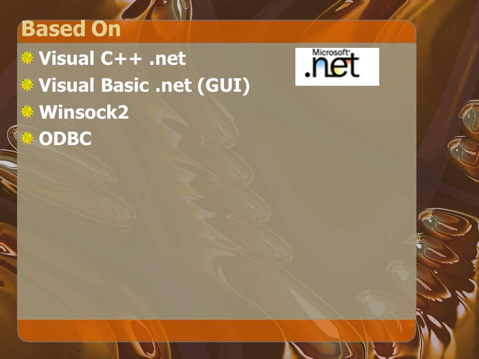 Based On Visual C++.net Visual Basic.net (GUI) Winsock2 ODBC