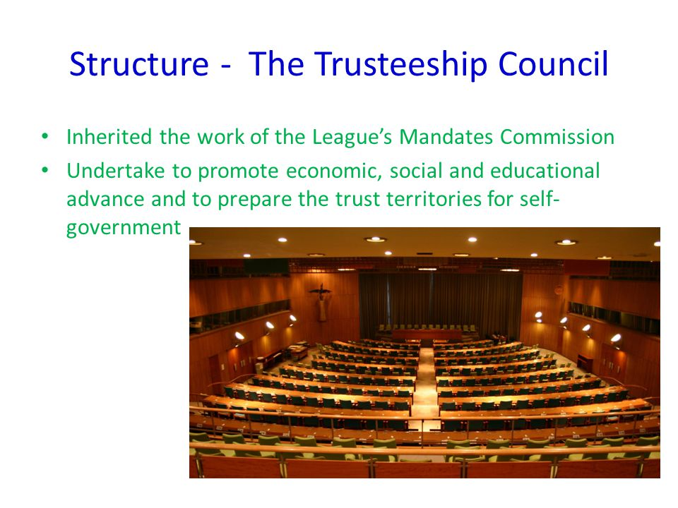 Structure – The Secretariat Civil Service of UN Secretary-General(Head) recommended to General Assembly by Security Council and appointed on a majority vote Manage the whole organization Draw the attention of the Security Council to any problem affecting peace Lead UN missions Absolute impartiality( fair mindedness)