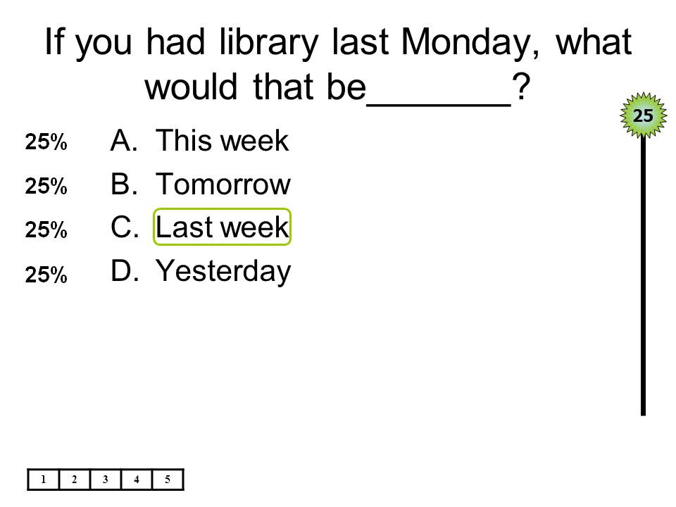 If you had library last Monday, what would that be_______.