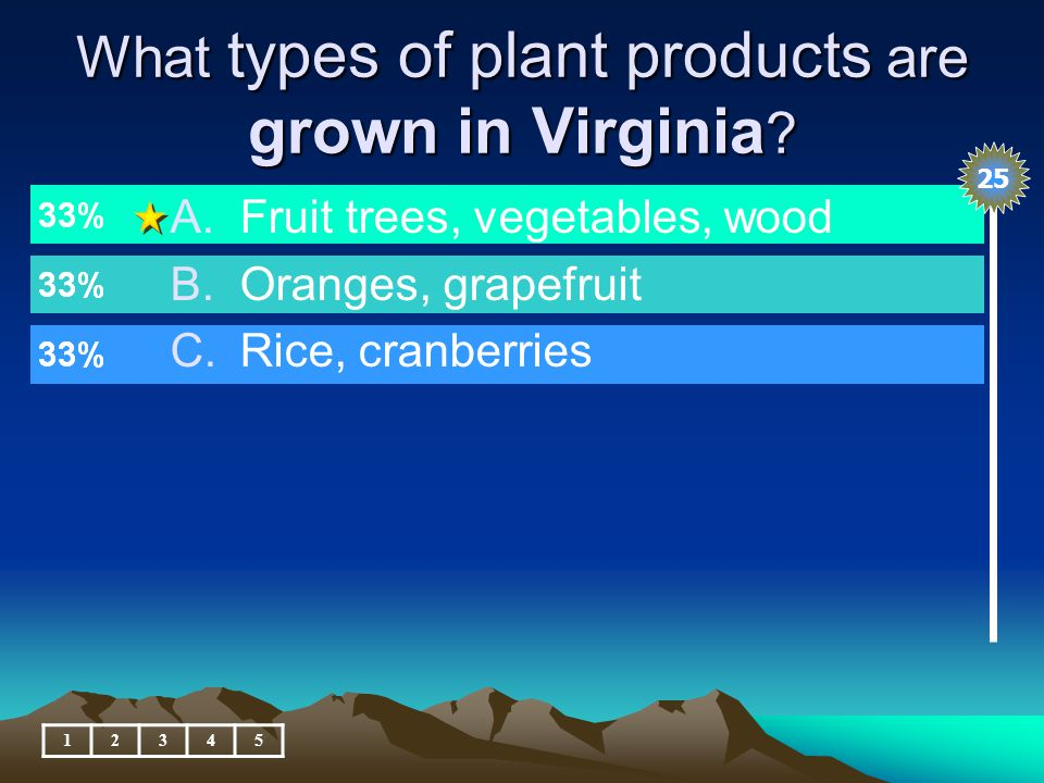 What types of plant products are grown in Virginia .