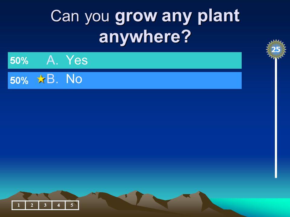 Plants feed many different animals. 12345 A.True B.False 25