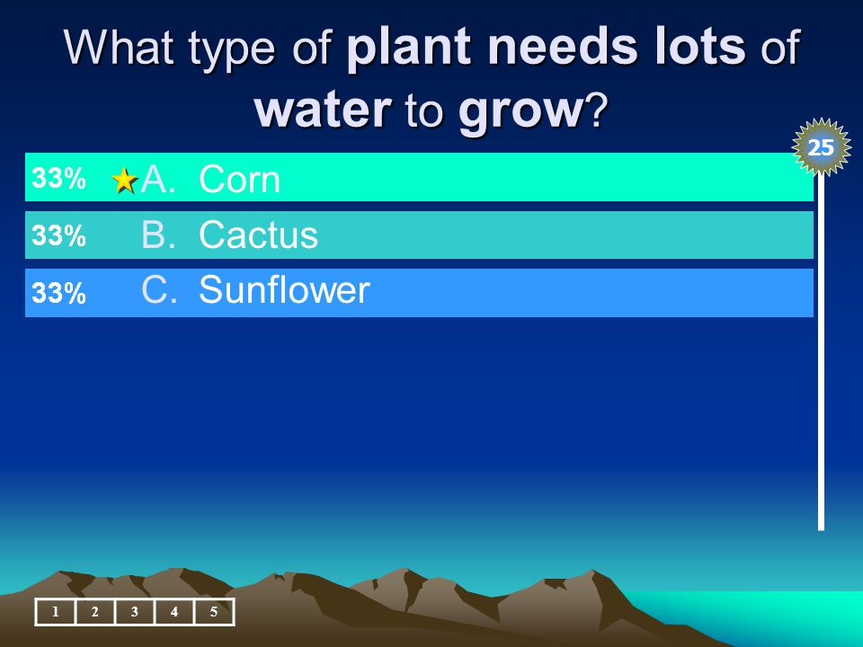 What type of plant needs lots of water to grow 12345 A.Corn B.Cactus C.Sunflower 25
