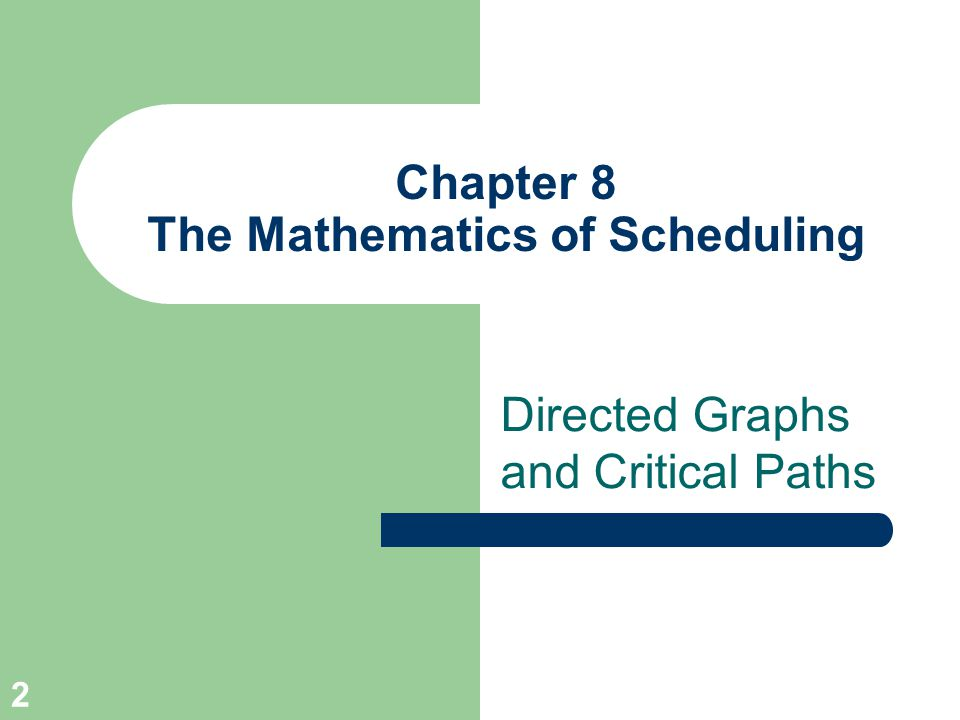 53 The Mathematics of Scheduling Conclusion Precedence Relations Precedence Relations Project Digraph Project Digraph Priority List Models Priority List Models Independent Tasks Independent Tasks