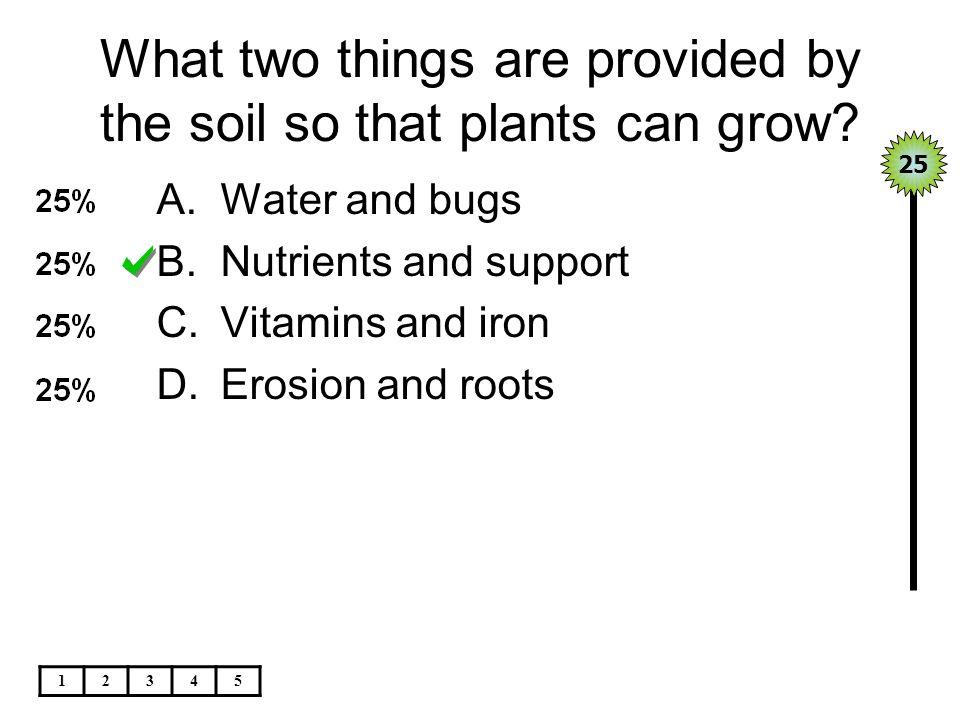 Seeds grow best in_____. A.Subsoil B.Clay C.Topsoil D.Silt 25 12345